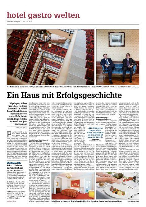 Hotel Revue, Waldhaus Sils, 111 jähre, tn hotel media consulting, hotel pr